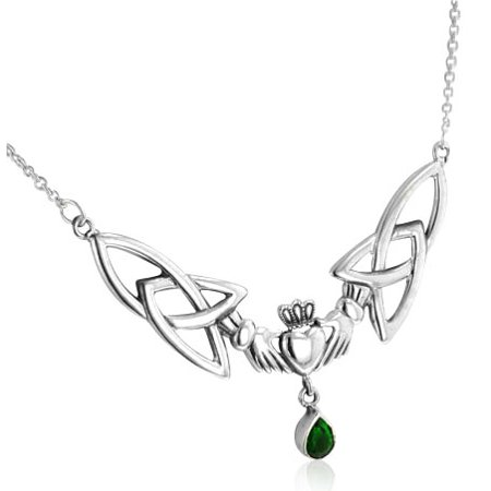 Sterling Silver Celtic Claddagh with Trinity Knots Green Glass Teardrop Adjustable 17