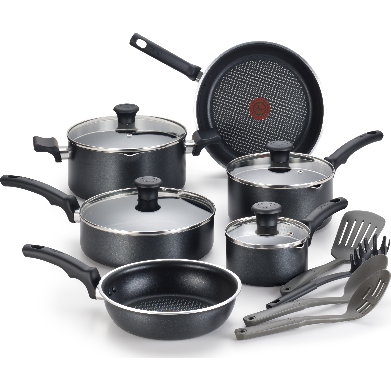 T-Fal Comfort Nonstick 14pc Set, Dishwasher Safe Cookware, Black, C565SE64