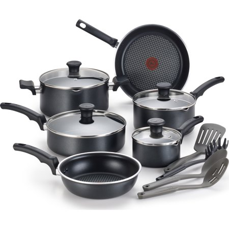 T-Fal Comfort Non-stick Dishwasher Safe Black Cookware, 14 Piece