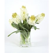 Distinctive Designs 16078 Waterlook Silk White Hyacinths in a Small Square Glass Vase