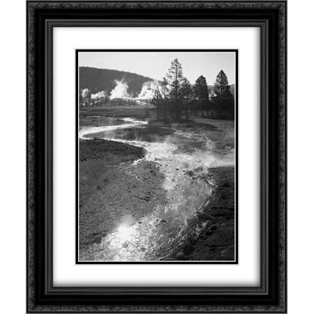 Stream winding back toward geyser, Central Geyser Basin, Yellowstone National Park, Wyoming, ca. 194 2x Matted 20x24 Black Ornate Framed Art Print by Adams, Ansel
