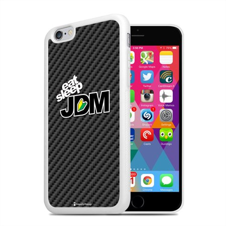 Sleep Mobile (iPhone 6 JDM Eat Sleep Carbon Fiber Look White TPU Rubber Cell Phone)