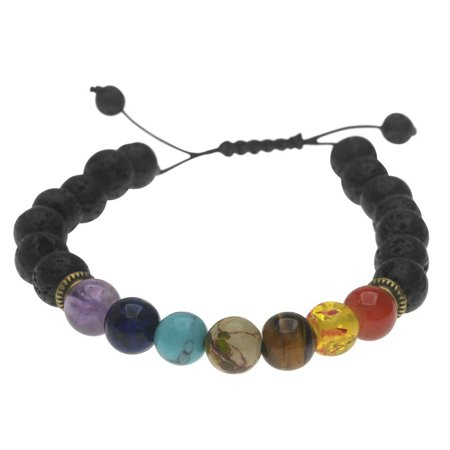 Natural Lava Gemstone and Mixed Bead Chakra Bracelet, Round 8mm, 1 Bracelet, Black/Assorted