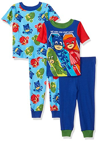 PJ Masks Toddler Boys' Bedtime Heroes 4-Piece Cotton Pajama Set, Blue Night, 2T