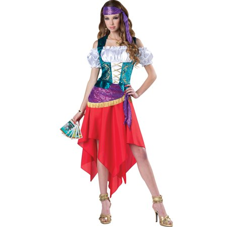 Teens Mystical Gypsy Esmeralda Crystal Ball Gypsy Fortune Teller Costume (Cheap Fortune Teller Halloween Costumes)