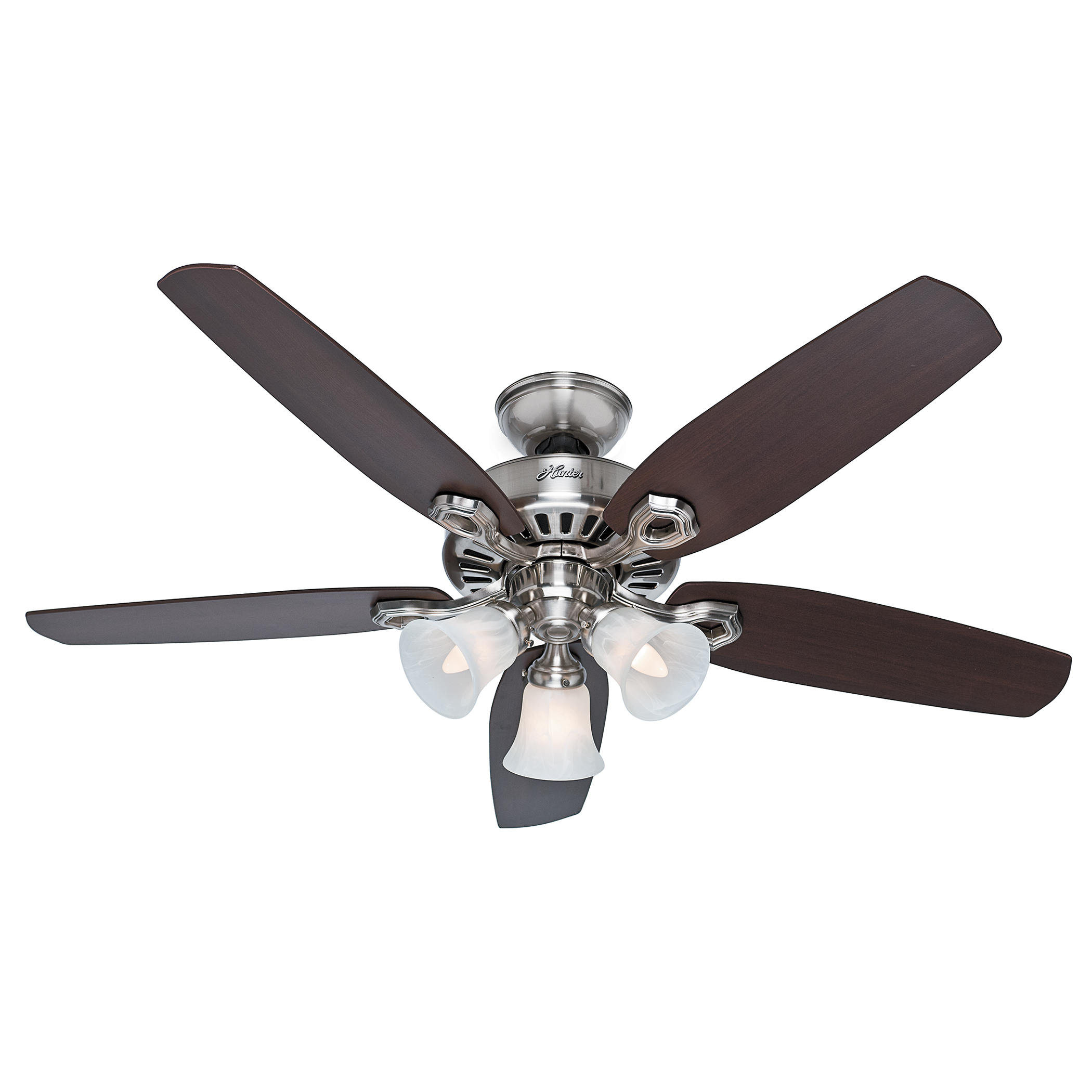 "Hunter 53237 52"" Brushed Nickel Ceiling Fan With 5 Mahogany Blades"