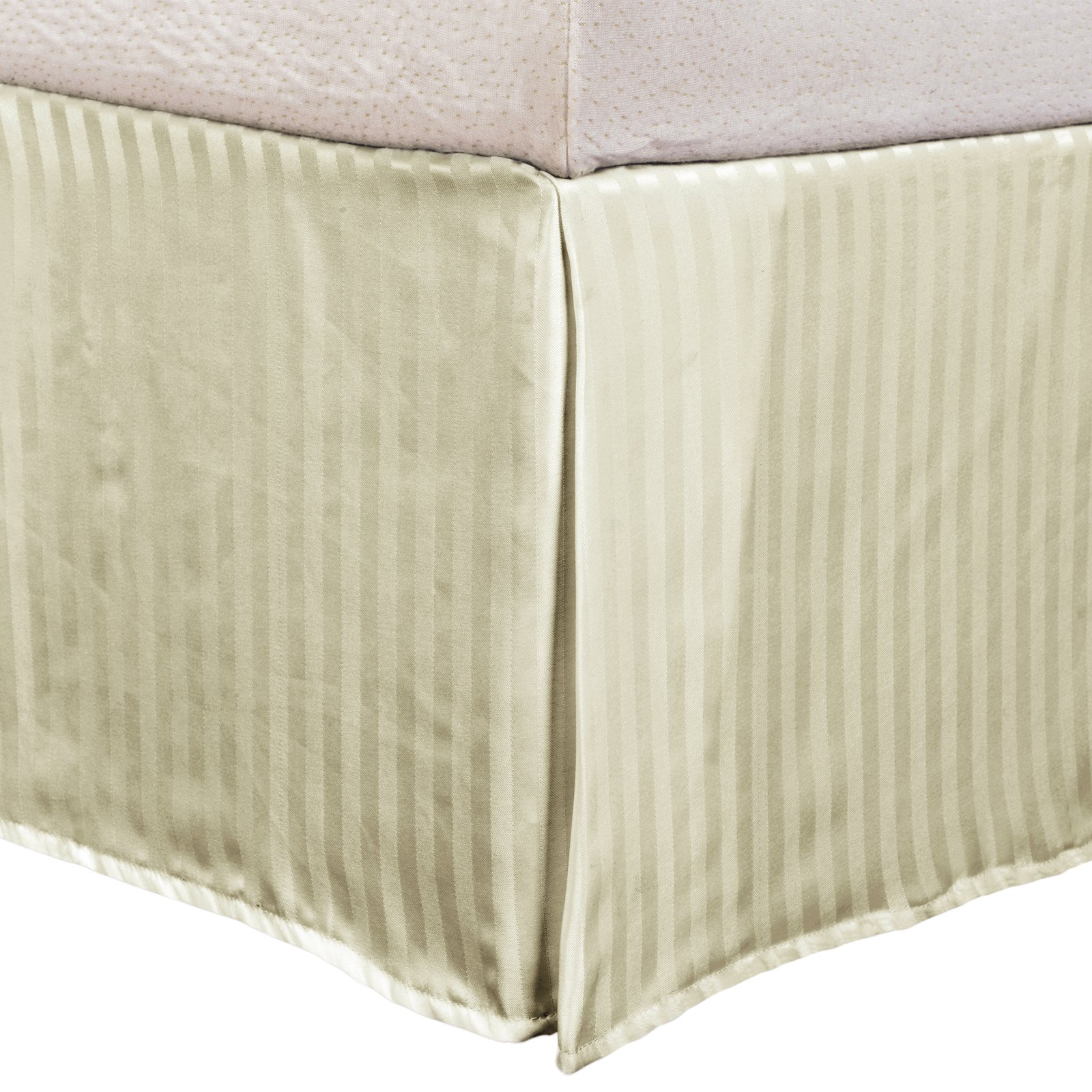 Superior 1500 Series Microfiber Wrinkle Resistant Pleated Stripe Bed Skirt with 15-Inch Drop