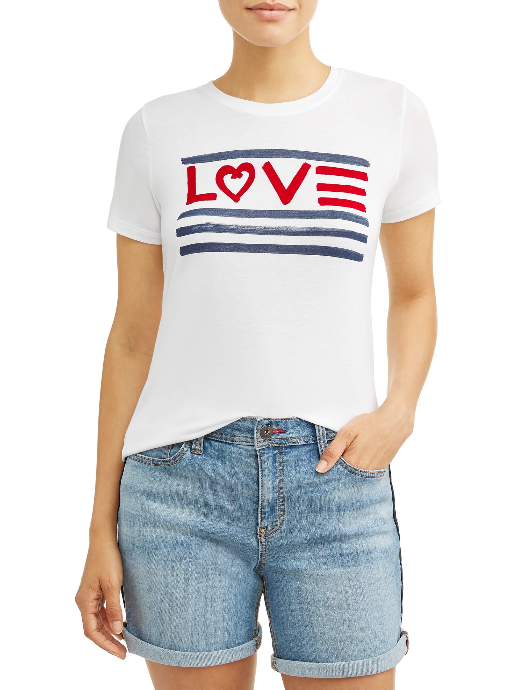 Love Flag Crew Neck Tee Women's (White)