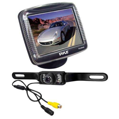 Pyle Audio PYLPLCM36B 3.5-Inch Slim TFT LCD Universal Mount Monitor with License Plate Mount Rear-view Night Vision Backup Camera