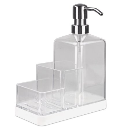 Soap Dispenser Pump and Sponge Caddy Organizer Kitchen Countertop - Clear (Bath Countertop Accessories)