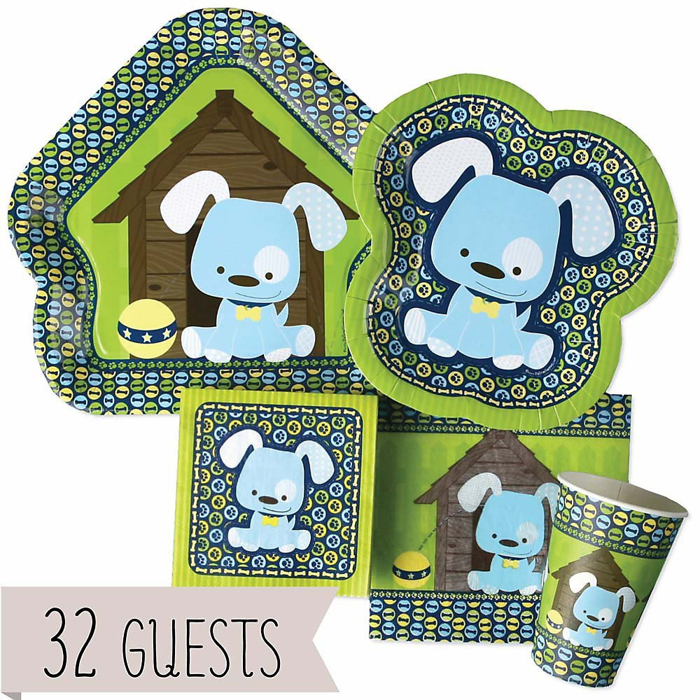 Boy Puppy Dog - Party Tableware Plates, Cups, Napkins - Bundle for 32