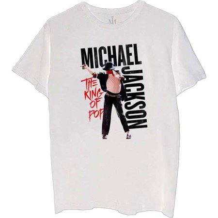 Michael Jackson Men's King of Pop Slim-Fit T-Shirt White (Michael Jackson Sequin Shirt)