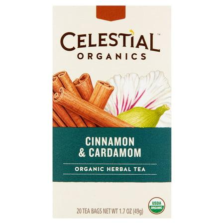Celestial Organics cannelle et cardamome thé à base de plantes bio, 20 sachets de thé, 1,7 oz, 6 pack