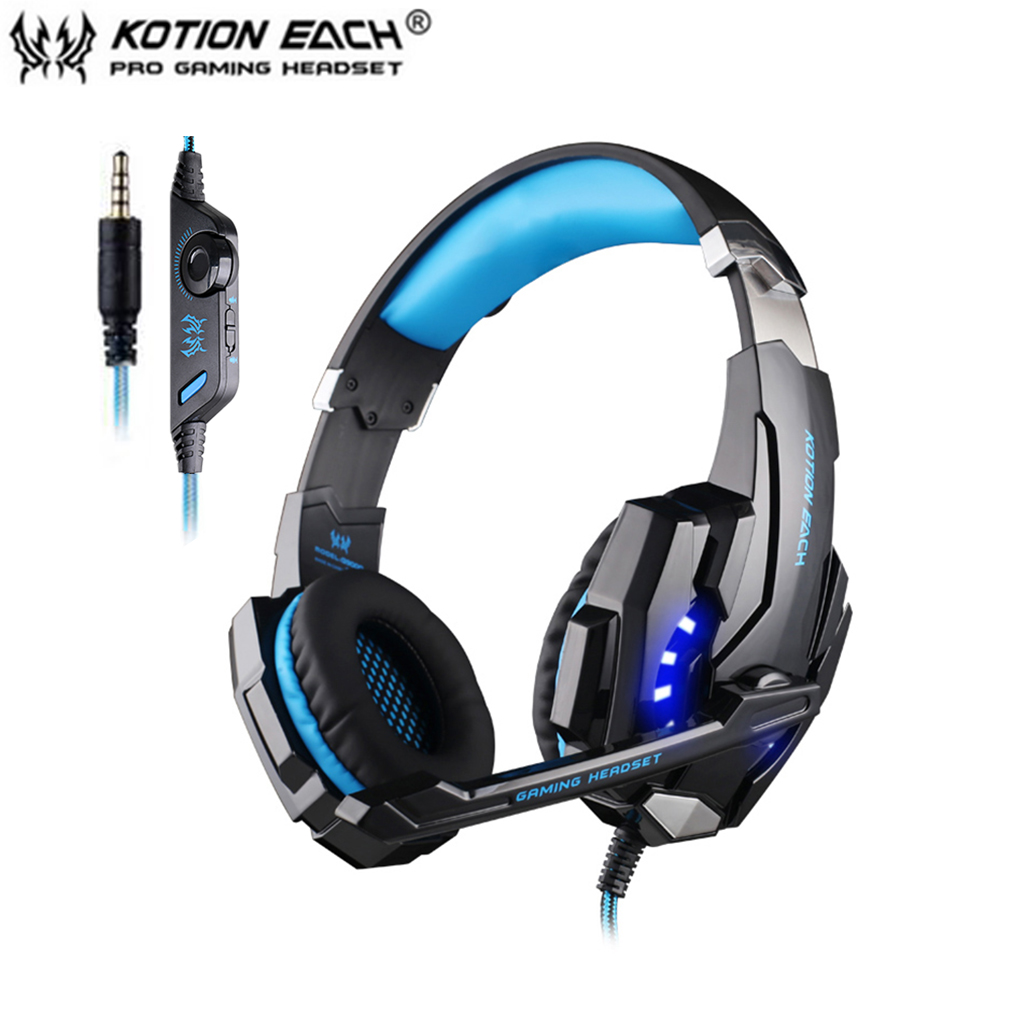 Black+Blue EACH G9000 3.5mm Gaming Headphone Microphone USB Single Hole Headset LED Light For PS4 Laptop Tablet Mobile Phones