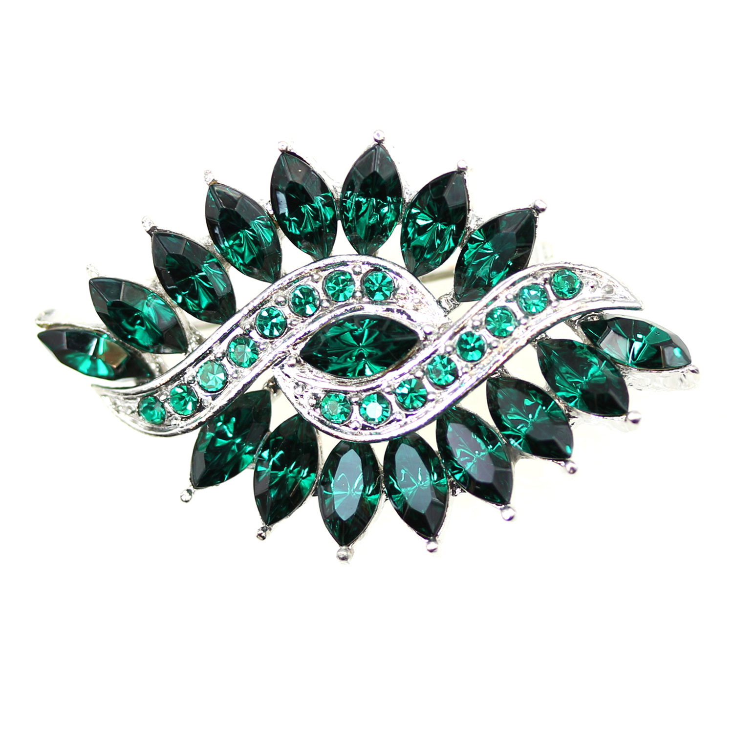 Faship Olive Shape Oval Green Rhinestone Crystal Floral Pin Brooch by