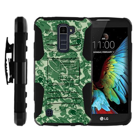 LG K10 and LG Premier LTE Miniturtle® Clip Armor Dual Layer Case Rugged Exterior with Built in Kickstand + Holster - Leaves of (Animal Crossing New Leaf Christmas Gift List)