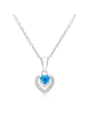 "Tilo Sterling Silver Cz Halo Heart Simulated Birthstone Pendant Necklace 18"" (December)"