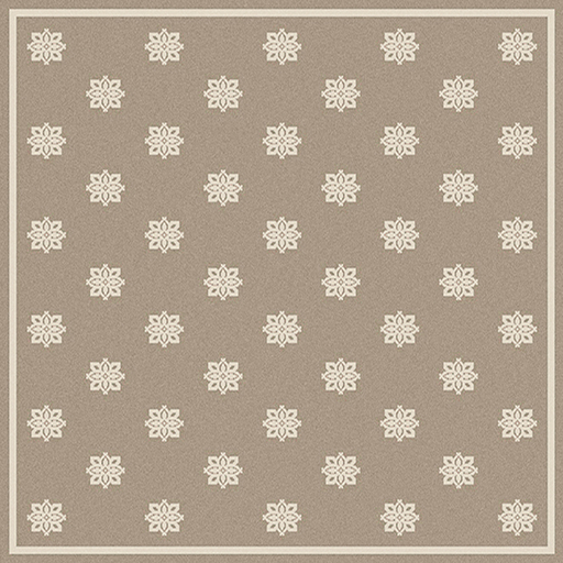 7.25' x 7.25' Summer Snowflake Tan and Beige Shed-Free Square Area Throw Rug