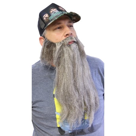 Fake Grey Beard (Extra Long Fake Grey Salt & Pepper Beard w/ Mustache (One Size Fits)