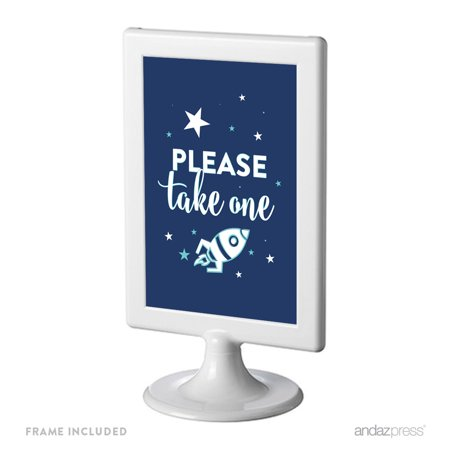 Space Galaxy Birthday Framed Party Signs, Please Take One, 4x6-inch, Includes Frame