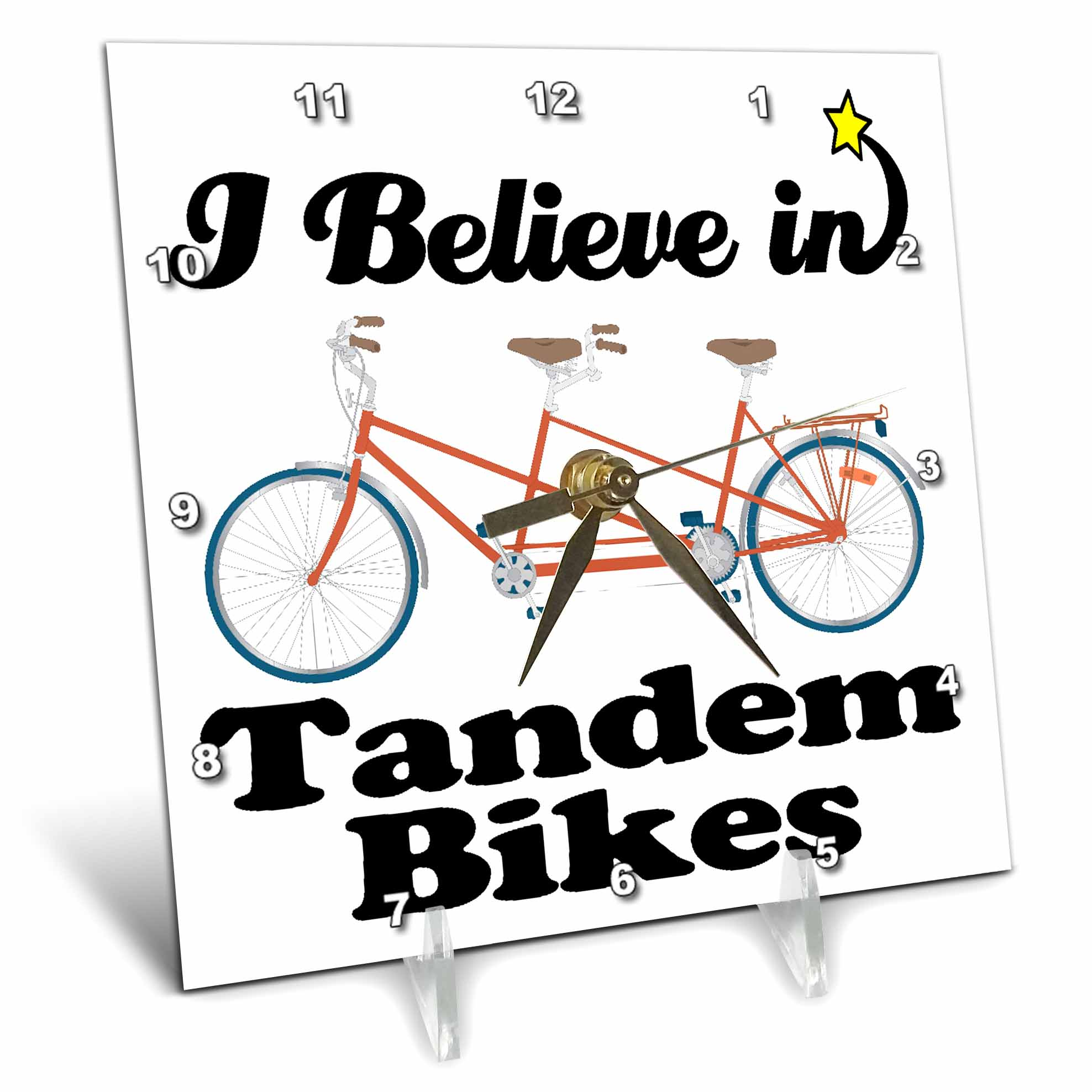 3dRose I Believe In Tandem Bikes, Desk Clock, 6 by 6-inch