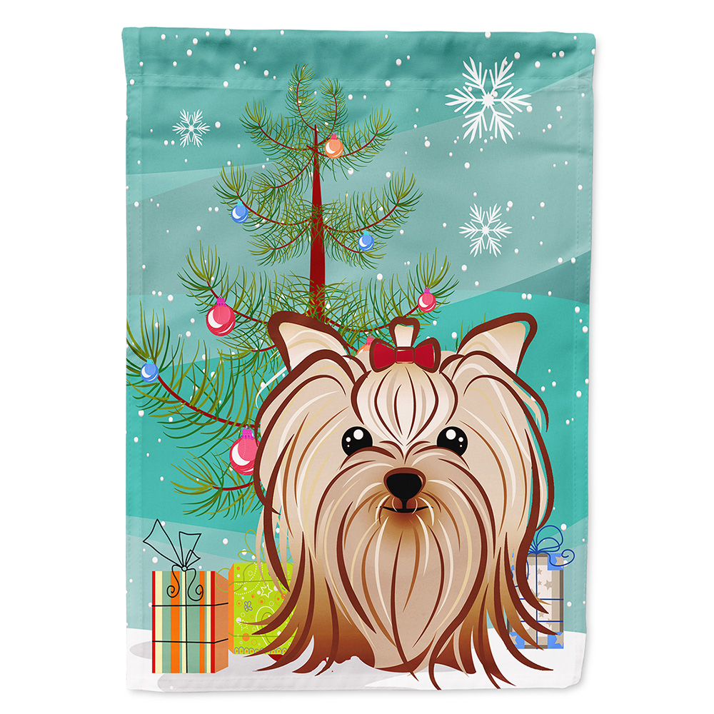 Christmas Tree And Yorkie Yorkshire Terrier Garden Flag