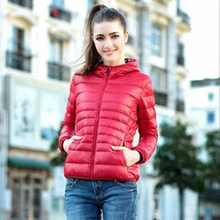 Womens Package Down Jacket Women Hooded Ultra Light Weight Short Down Coat