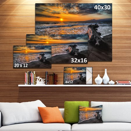 Log on Beach During Sunset - Seashore Canvas Art Print - image 3 de 4
