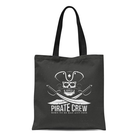 ASHLEIGH Canvas Tote Bag Pirates Crew Jolly Roger Skull Crossed Sabers on Separate Durable Reusable Shopping Shoulder Grocery Bag