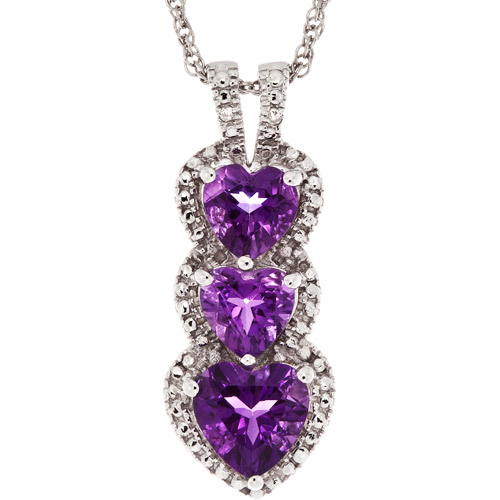 1.48 Carat T.G.W. Amethyst and Diamond Sterling Silver Pendant, 18""