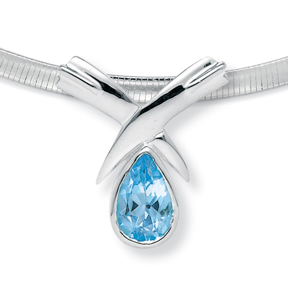 "6.50 TCW Pear Cut Blue Genuine Topaz Sterling Silver Slide Pendant and Omega-Link Necklace 16"" by PalmBeach Jewelry"