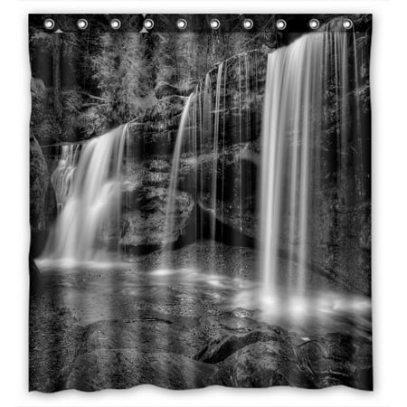 Black & White Ceramic Bathroom - PHFZK Natural Landscape Shower Curtain, A Hidden Waterfall in Hocking Hills Ohio in Black and White Polyester Fabric Bathroom Shower Curtain 66x72 inches