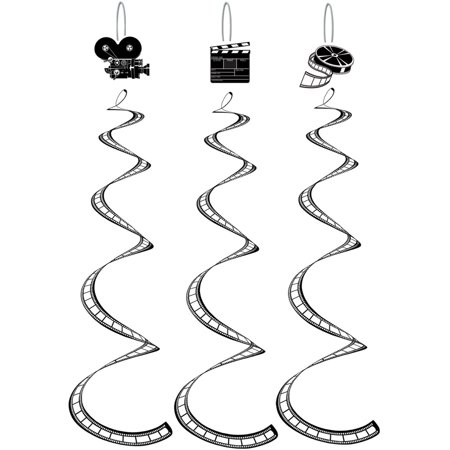 Hollywood Movie Film Strip Twirly Whirlies Hangers Party Decoration 3 Pack (Hollywood Sign For Party)