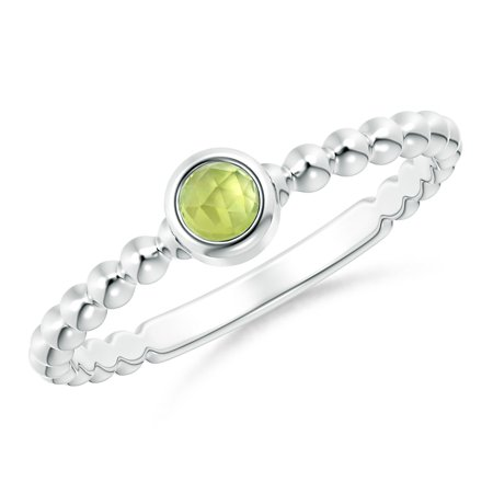 August Birthstone Ring - Bezel Set Peridot Stackable Ring with Beaded Shank in Silver (3mm Peridot) - SR1863P-SL-AAA-3-6.5