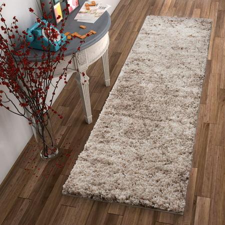 Modern Geometric Lattice Shag 2x7 (2'' x 7'3'' Runner) Area Rug Mazie Moroccan Trellis Beige Cream Plush Easy Care Thick Soft Plush Living Room