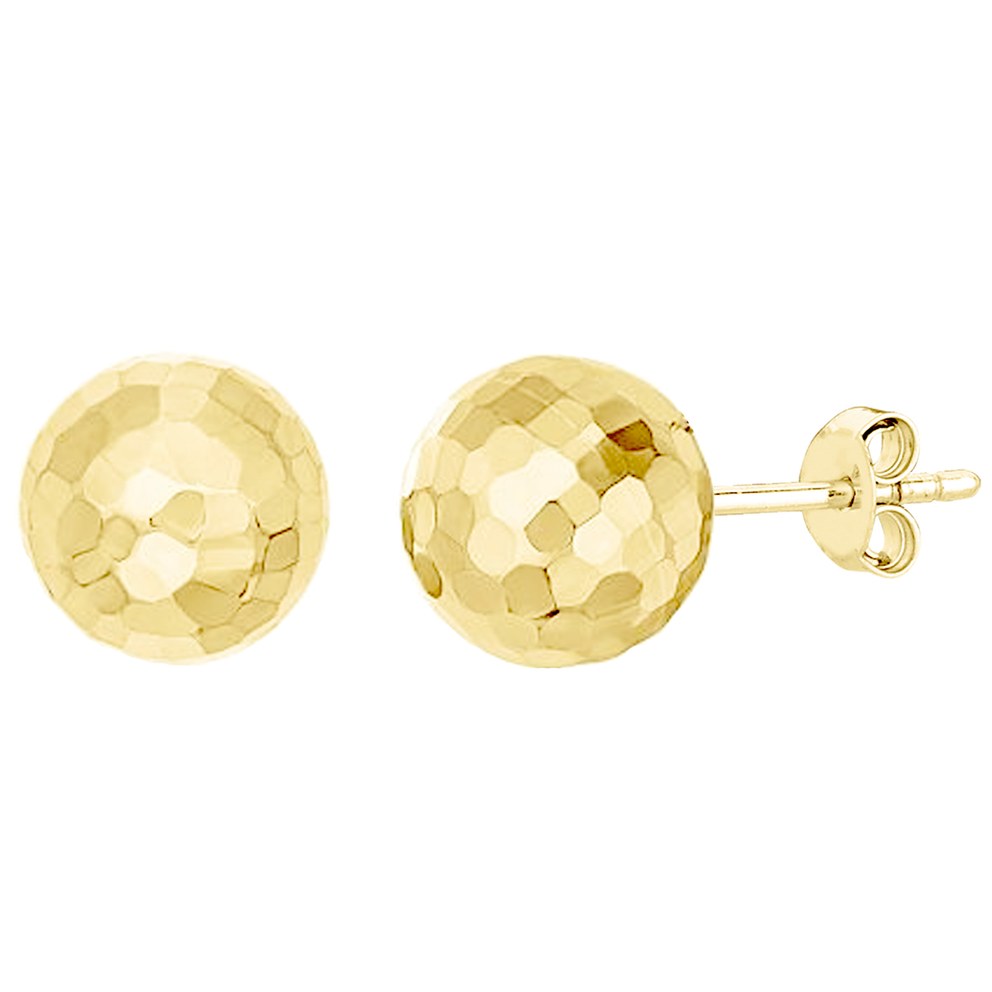 7 to 17mm 13x13 mm Hammered Half Ball Post Earrings in Genuine 14k Yellow Gold