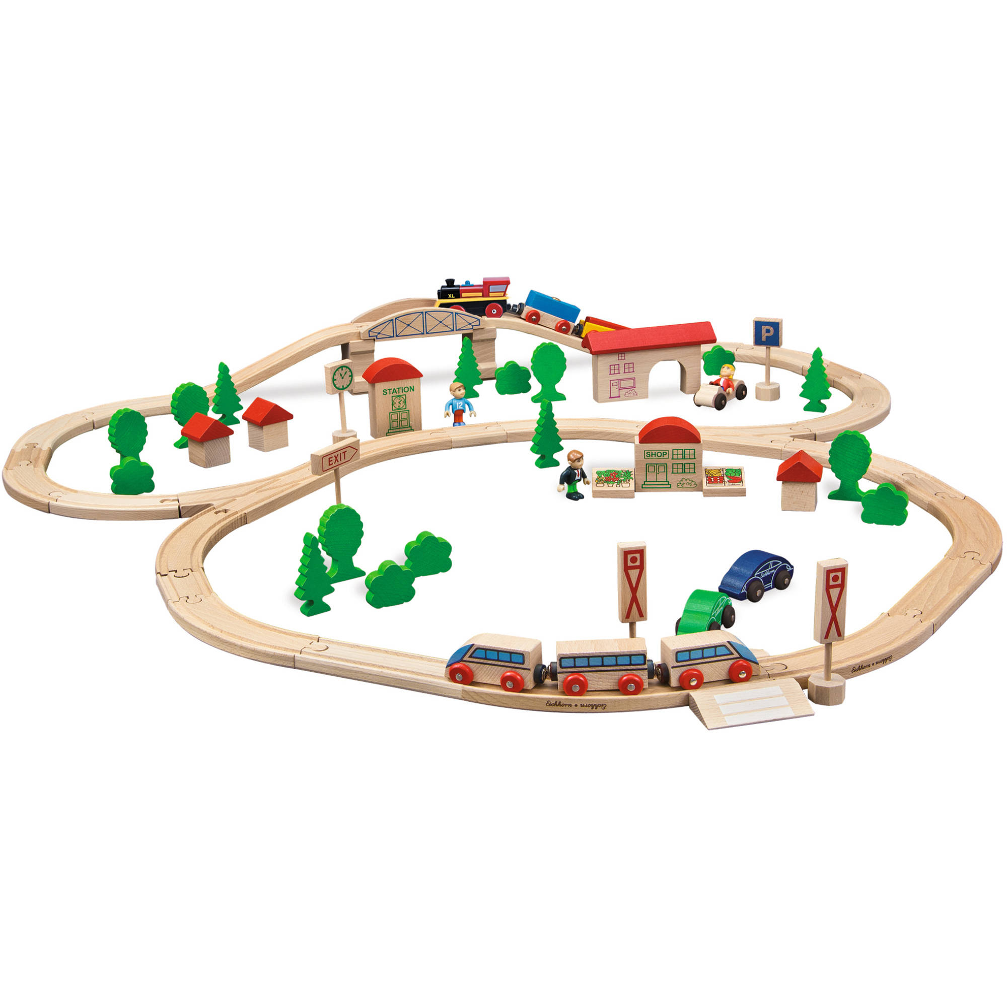 Eichhorn 81-Piece Wooden Train Set with Bridge