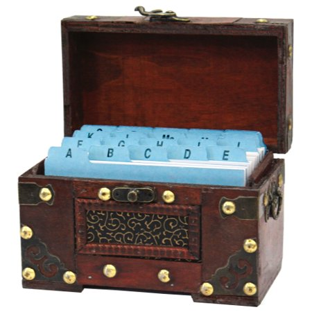Maple Recipe Box - Rustic Studded Index/Recipe Card Box with Antiqued Latch, 3 x 5 in. Cards