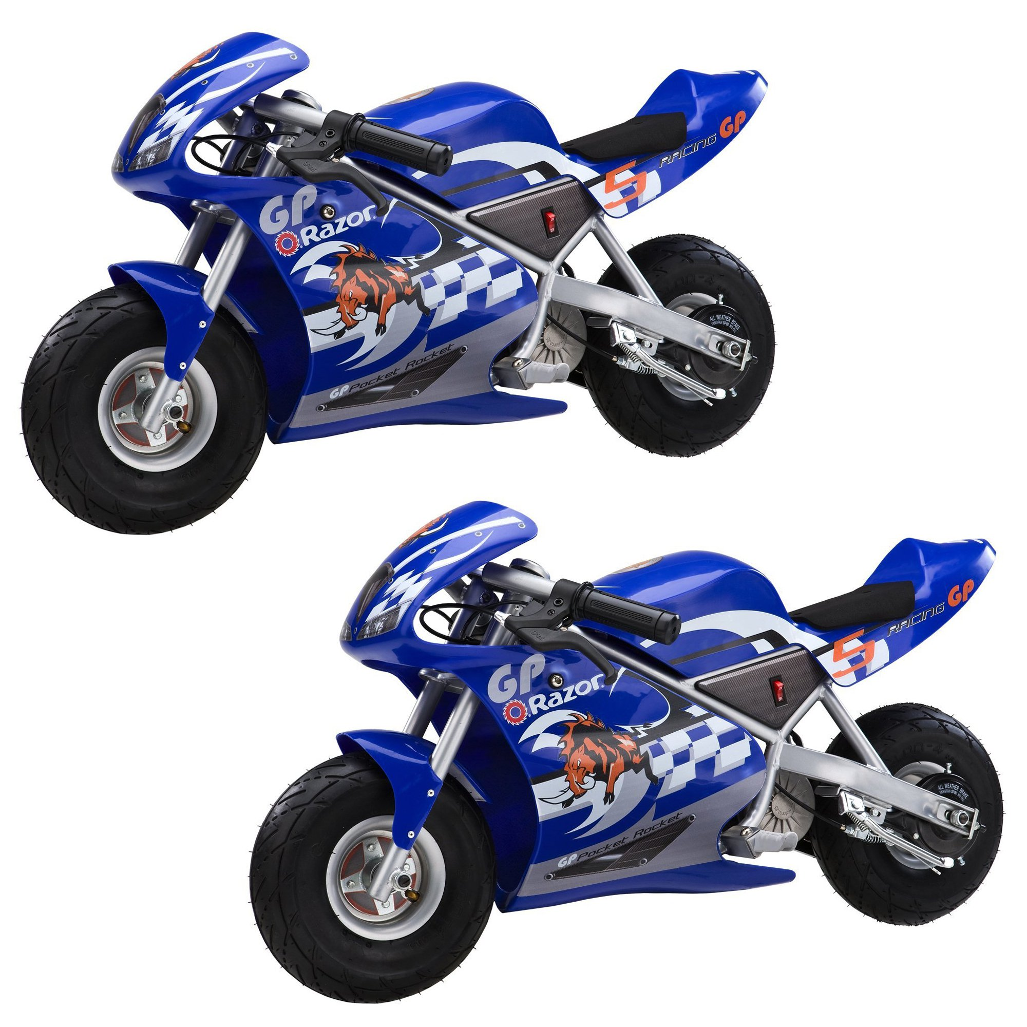 Razor Mini Electric Single Speed Racing Motorcycle Pocket Rockets, Blue (2 Pack)