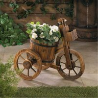 Zingz & Thingz 57071207 Tricycle Wooden Barrel Planter