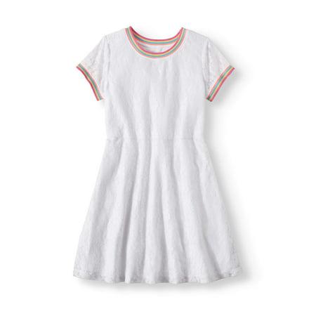 Wonder Nation Rainbow Trim Lace Dress (Little Girls, Big Girls & Big Girls Plus)