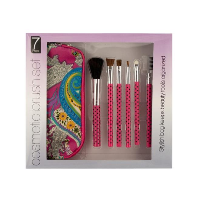 Bulk Buys OF008-3 Cosmetic Brush Set With Carrying Case