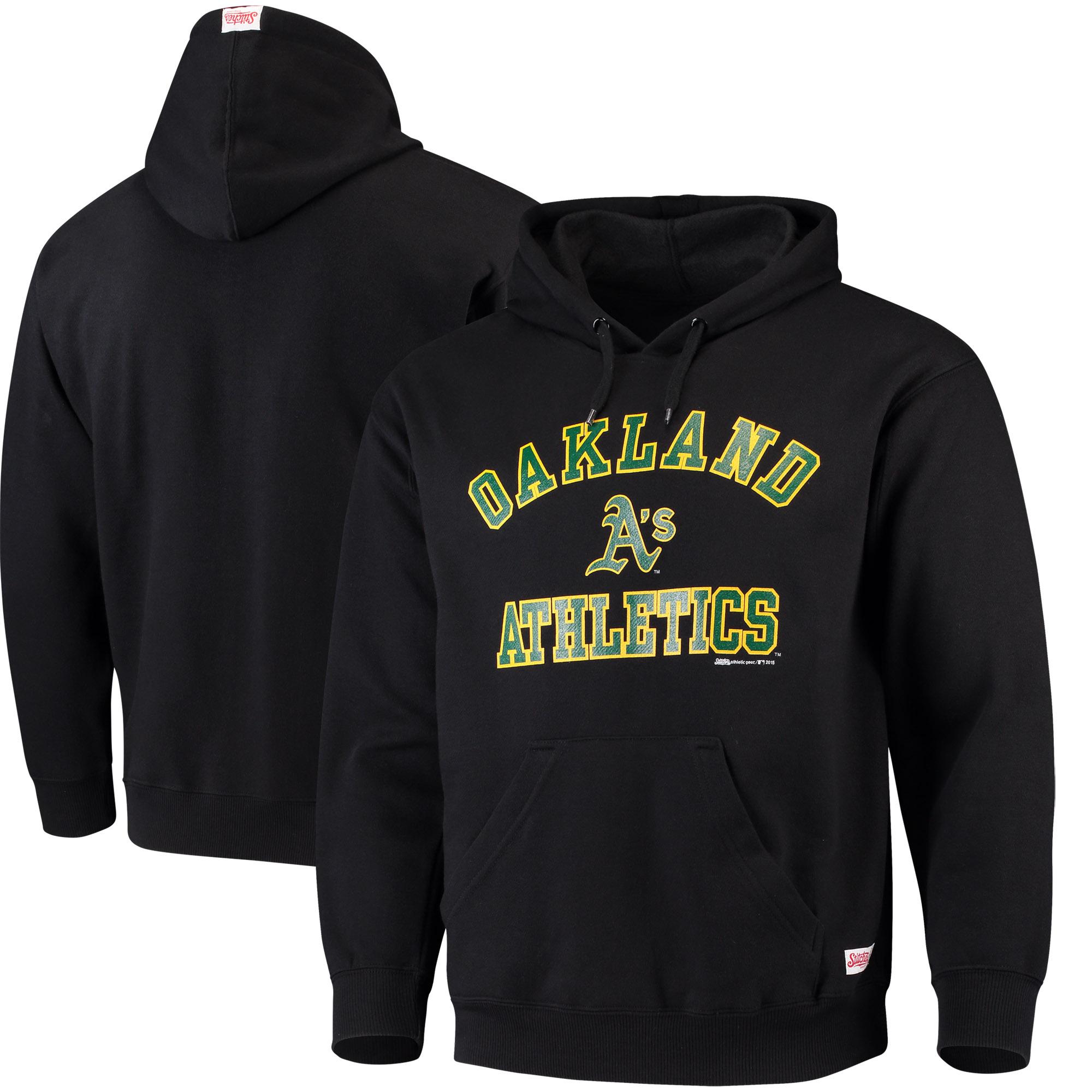 Oakland Athletics Stitches Fastball Fleece Pullover Hoodie - Black