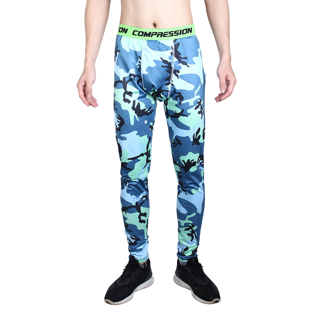 Men Polyester Fiber Compression Base Layer Pants Green Camouflage XXL/US W32