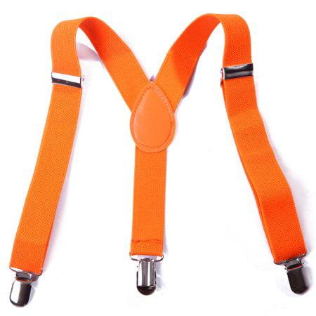 Orange Kids Boys Solid Color Adjustable Elastic Y Back Clip Suspenders - Children's Suspenders