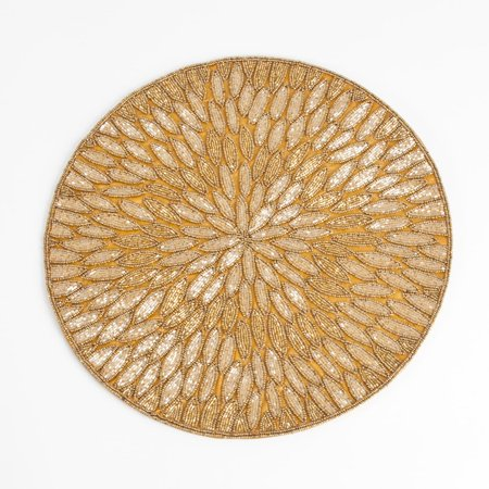 Saro Lifestyle Beaded Design Placemats (set of 4) (Round Placemats Teal)