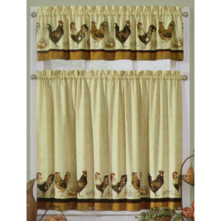 Rooster Kitchen Tier and Valance Set by By Interiors by