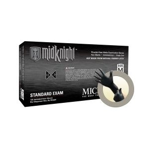 Microflex 2X Black 9.645'' MidKnight 4.7 mil Nitrile Ambidextrous Non-Sterile Medical Grade Powder-Free Disposable Gloves With Fully Textured Finish And Standard Examination Beaded Cuff (100 Each P