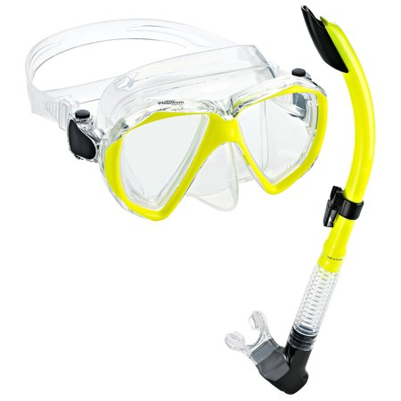 Phantom Aquatics Velocity Scuba Snorkeling Mask Snorkel Set, Yellow