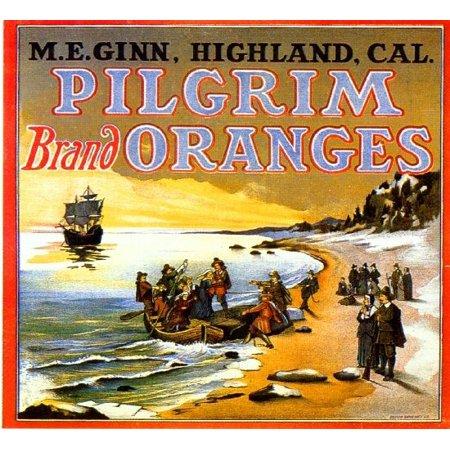 Highland Pilgrim Thanksgiving Orange Citrus Fruit Crate Label Art Print